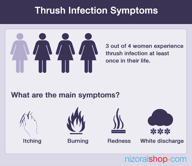 Infographic displaying vaginal thrush infection main symptoms in women and  statistics
